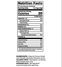 Acai Nutritional facts